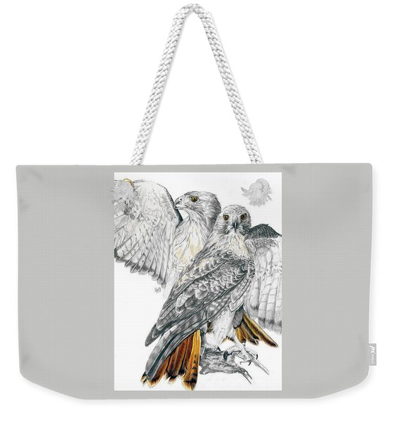 Weekender Tote Bag featuring the mixed media Red-tailed Hawk by Barbara Keith