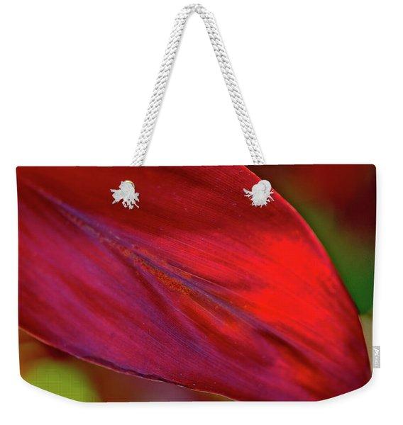 Red Ti Leaves 01 Weekender Tote Bag