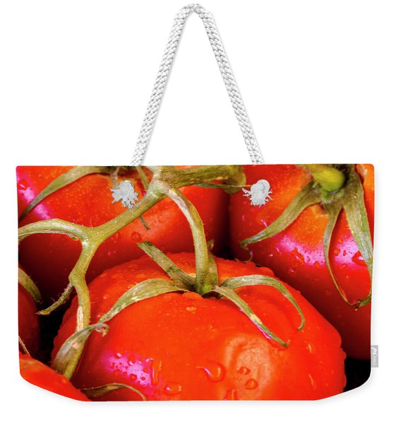 Red Tomatoes And Water Drops Weekender Tote Bag
