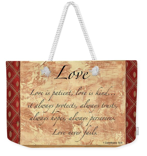 Red Traditional Love Weekender Tote Bag