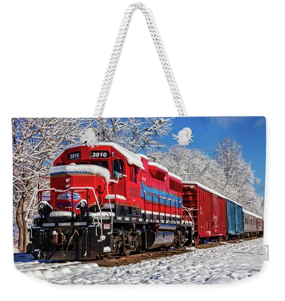 Red Train In The Snow Weekender Tote Bag