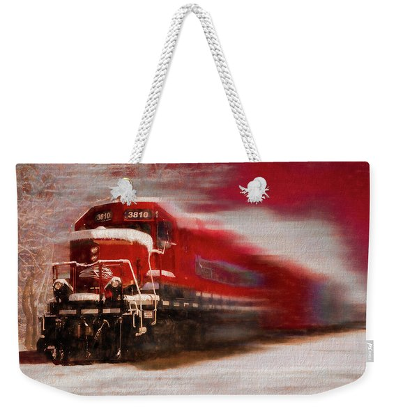 Red Train In The Snow In Motion Painting Weekender Tote Bag