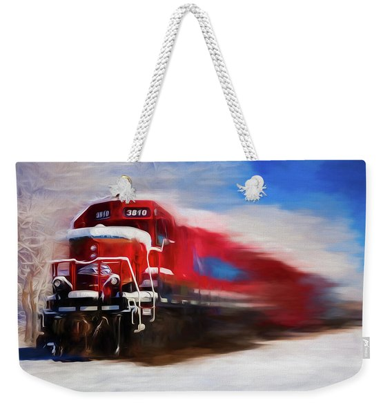 Red Train In The Snow In Motion Watercolor Painting Weekender Tote Bag