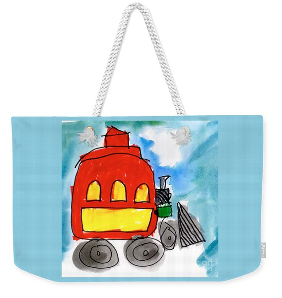 Red Train Weekender Tote Bag