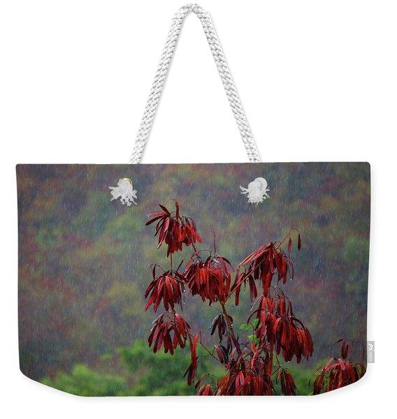 Red Tree In The Rain Weekender Tote Bag