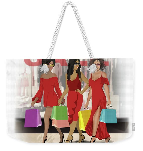 Red Walking Weekender Tote Bag