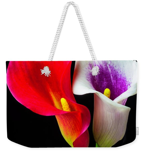 Red White And Purple Calla Lilies Weekender Tote Bag