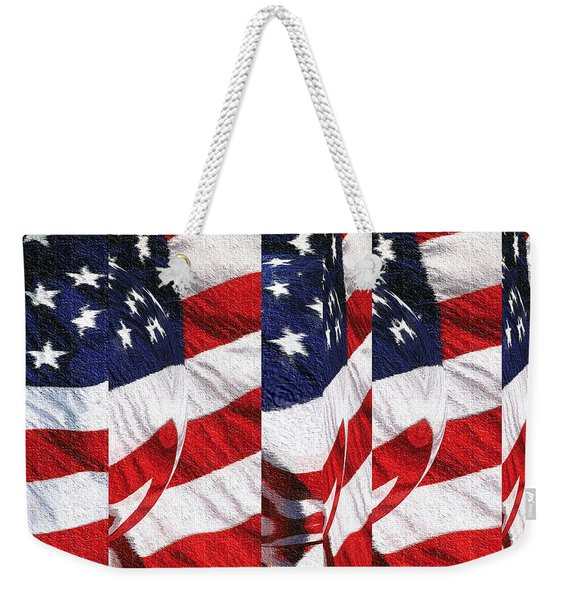 Red White Blue - American Stars And Stripes Collage Weekender Tote Bag
