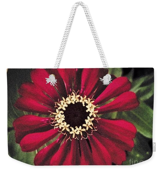Red White Yellow Zinnia Weekender Tote Bag