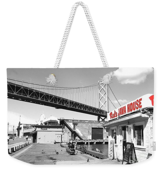 Reds Java House And The Bay Bridge In San Francisco Embarcadero . Black And White And Red Weekender Tote Bag