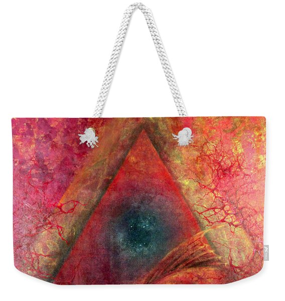 Weekender Tote Bag featuring the painting Redstargate by Ashley Kujan