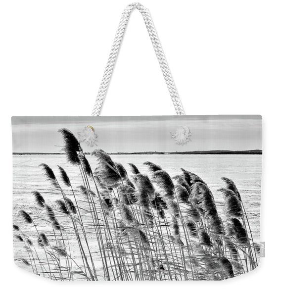 Reeds On A Frozen Lake Weekender Tote Bag