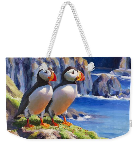Horned Puffin Painting - Coastal Decor - Alaska Wall Art - Ocean Birds - Shorebirds Weekender Tote Bag