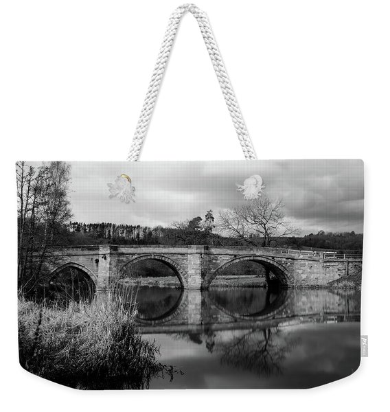 Reflecting Oval Stone Bridge In Blanc And White Weekender Tote Bag