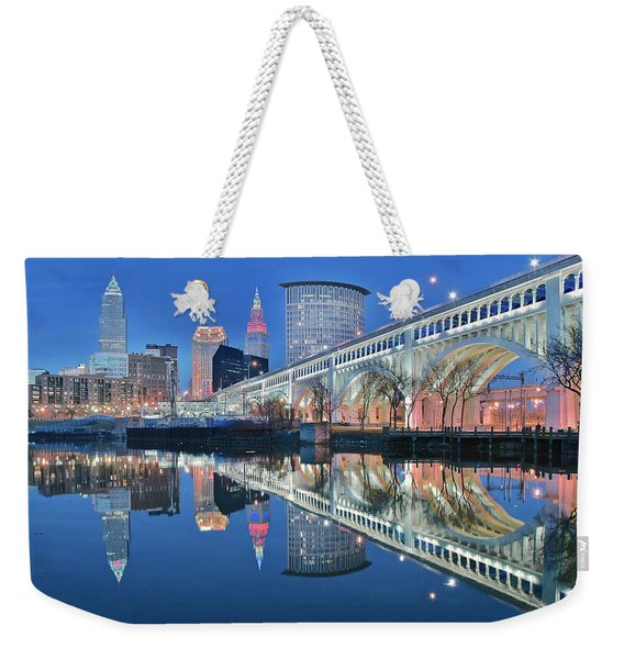Reflecting Sharply In The Cuyahoga Weekender Tote Bag