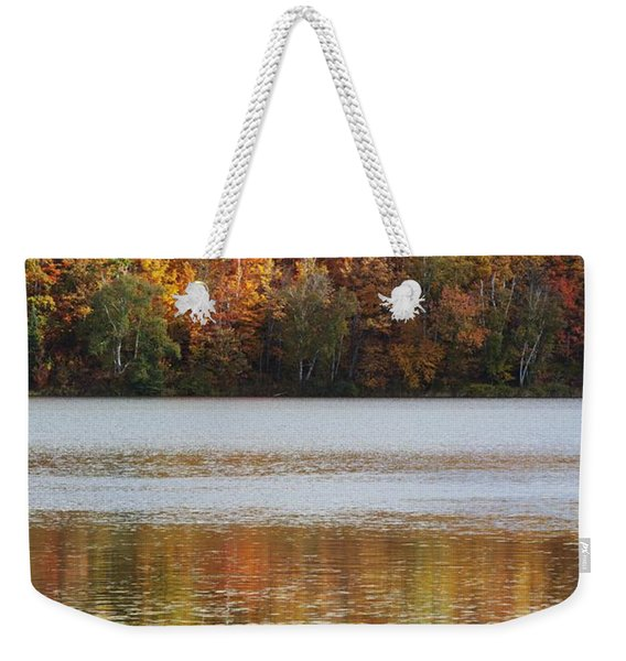 Reflection Of Autumn Colors In A Lake Weekender Tote Bag
