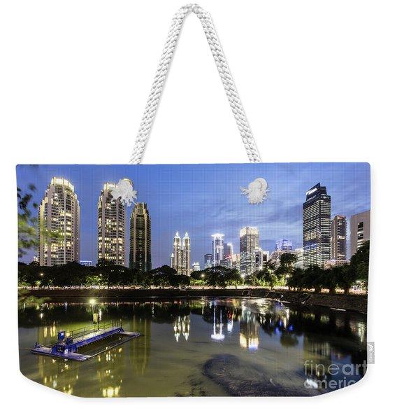 Reflection Of Jakarta Business District Skyline During Blue Hour Weekender Tote Bag