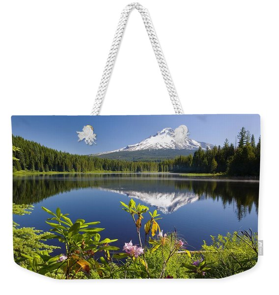 Reflection Of Mount Hood In Trillium Weekender Tote Bag