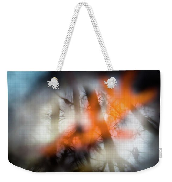 Reflection Of Trees Over An Oak Leaf Encased In Water And Ice Weekender Tote Bag
