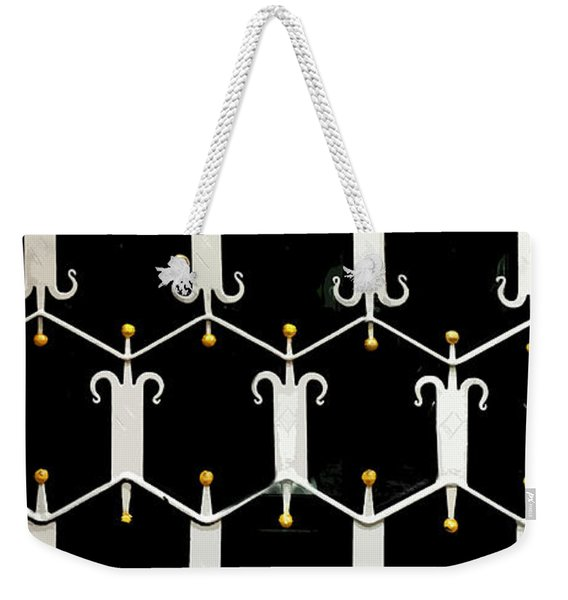 Weekender Tote Bag featuring the digital art Reflections In A Doorway by Gina Harrison