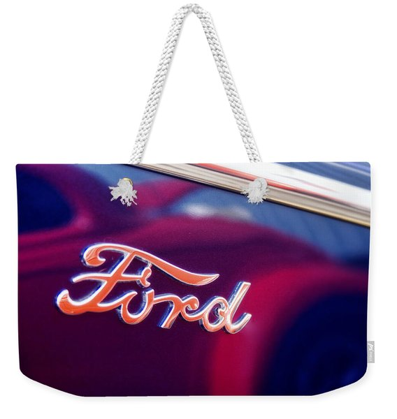 Reflections In An Old Ford Automobile Weekender Tote Bag