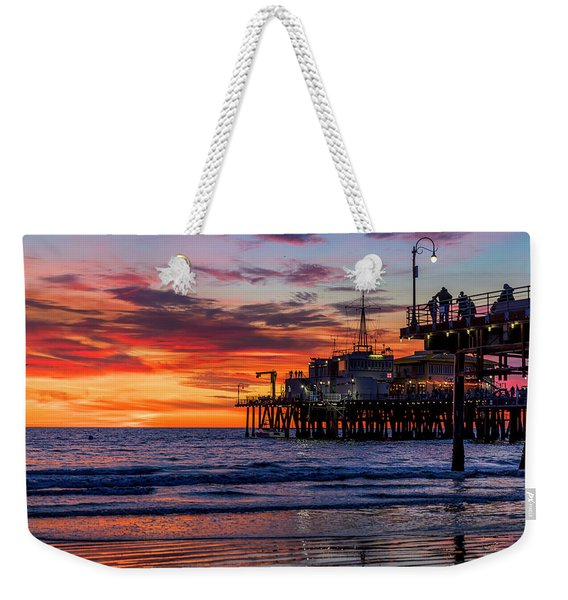 Reflections Of The Pier Weekender Tote Bag