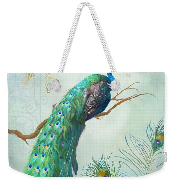 Regal Peacock 1 On Tree Branch W Feathers Gold Leaf Weekender Tote Bag