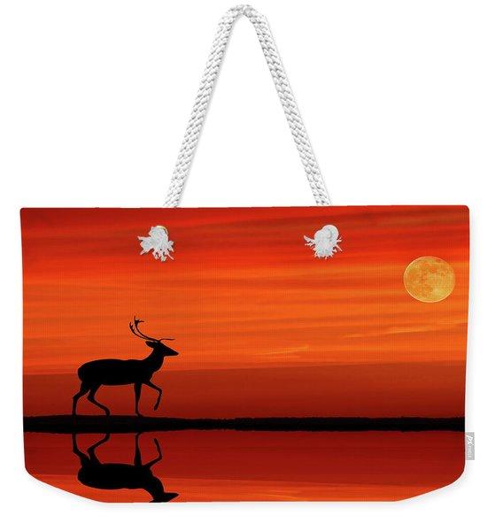 Reindeer By Moonlight Weekender Tote Bag