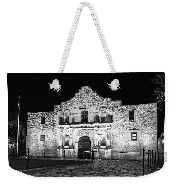 Remembering The Alamo - Black And White Weekender Tote Bag