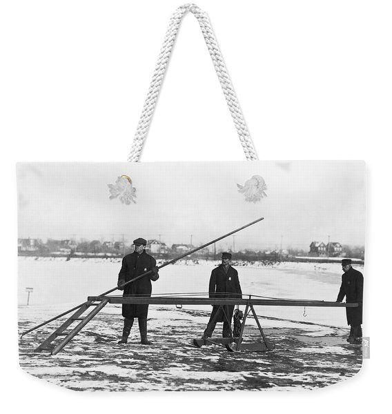 Rescue For Skating On Thin Ice Weekender Tote Bag
