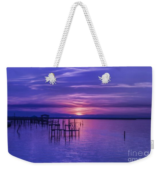 Rest Well World Purple Sunset Weekender Tote Bag