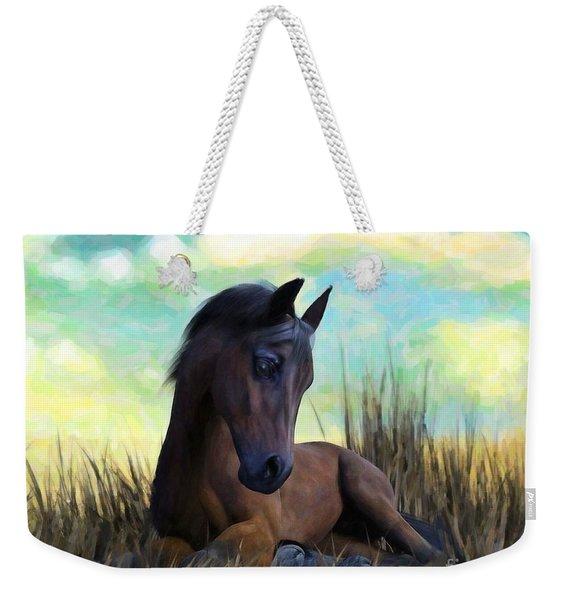 Weekender Tote Bag featuring the painting Resting Foal by Sandra Bauser Digital Art