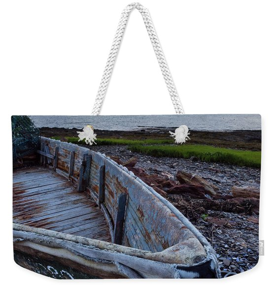 Weekender Tote Bag featuring the photograph Retired Boat, Harpswell, Maine #252437 by John Bald