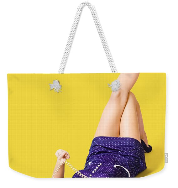 Retro 1950s Pinup Girl Chatting On Telephone Weekender Tote Bag