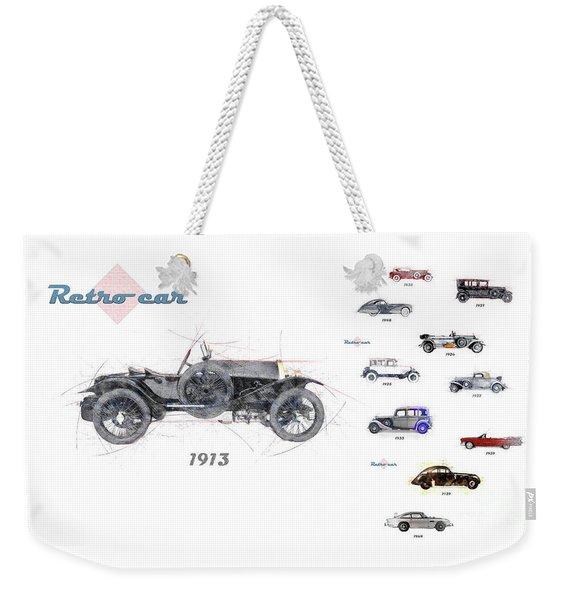 Retro Car In Sketch Style Weekender Tote Bag