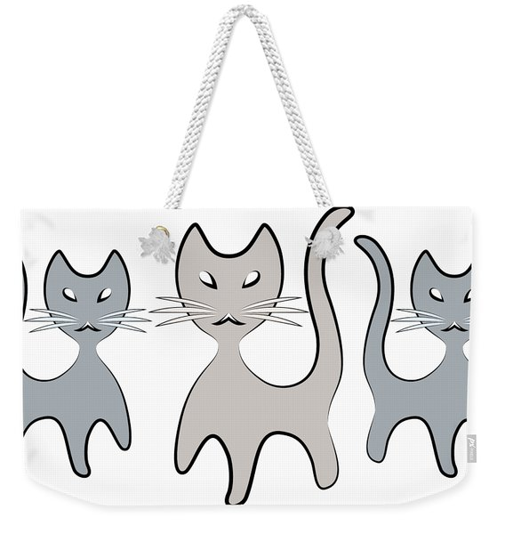 Retro Cat Graphic In Grays Weekender Tote Bag