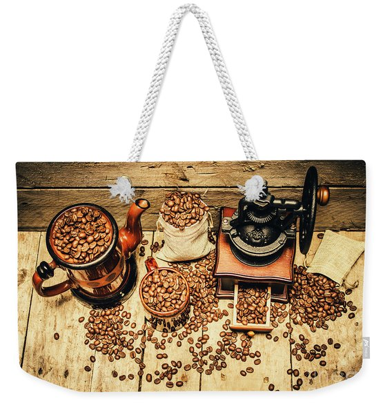 Retro Coffee Bean Mill Weekender Tote Bag