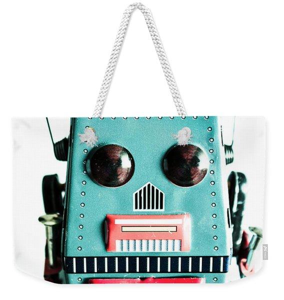 Retro Eighties Blue Robot Weekender Tote Bag