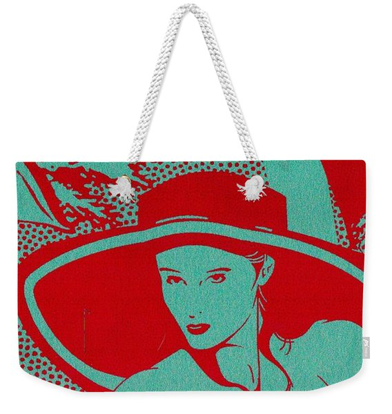 Weekender Tote Bag featuring the mixed media Retro Glam by Writermore Arts