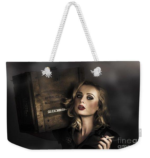 Retro Military Pinup Girl In Grunge Army Fashion Weekender Tote Bag