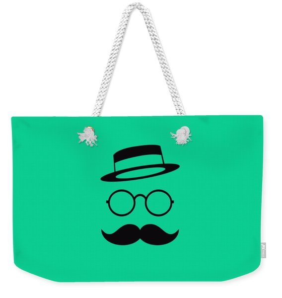 Retro Minimal Vintage Face With Moustache And Glasses Weekender Tote Bag