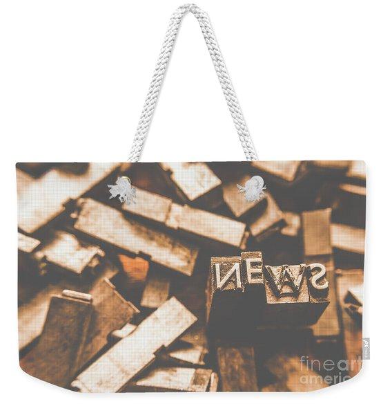 Retro News Print  Weekender Tote Bag