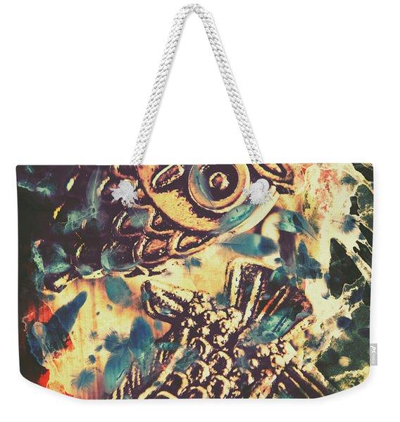 Retro Pop Art Owls Under Floating Feathers Weekender Tote Bag