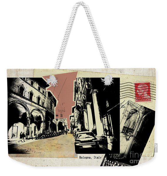 retro postcard of Bologna Weekender Tote Bag