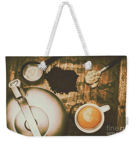 Retro Tea Background Weekender Tote Bag