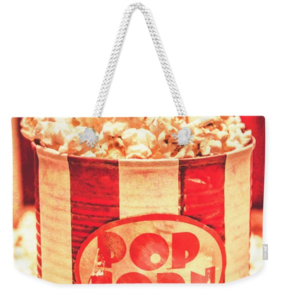 Retro Tub Of Butter Popcorn And Ticket Stub Weekender Tote Bag