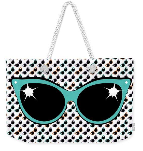 Retro Turquoise Cat Sunglasses Weekender Tote Bag