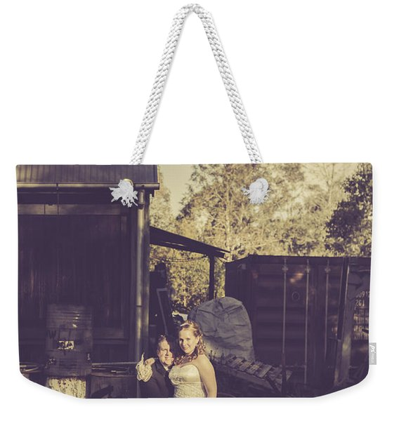 Retro Wedding Couple At Australian Farm Cottage Weekender Tote Bag