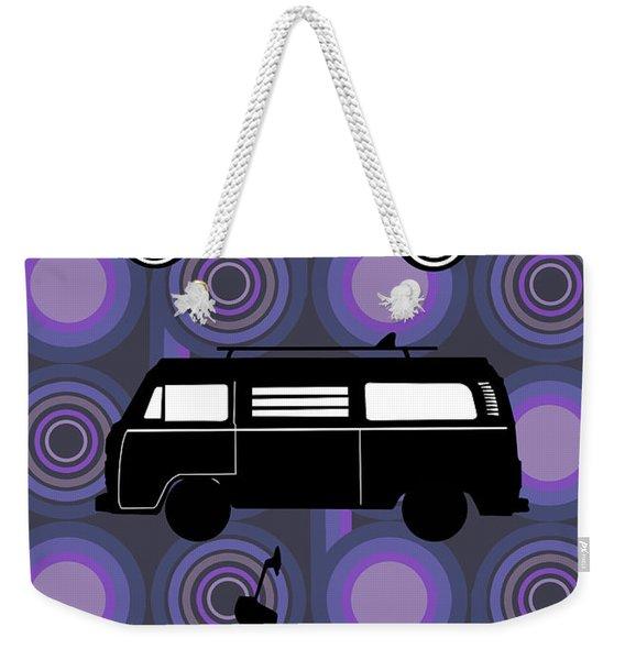 Retro Wheels 70s Purple Weekender Tote Bag