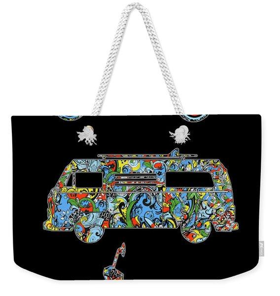 Retro Wheels Floral Weekender Tote Bag
